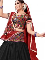 Black and Multi Colour Cotton A Line Lehenga Choli