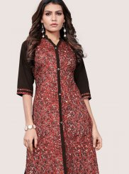 Black and Multi Colour Faux Crepe Casual Kurti