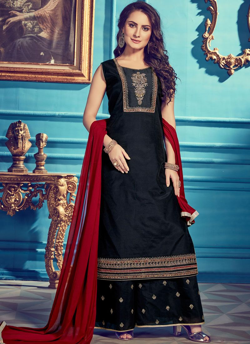 Black and Navy Blue Embroidered Designer Palazzo Salwar Suit