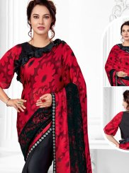 Black and Red Abstract Print Ceremonial Printed Saree