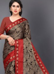 Black and Red Casual Casual Saree