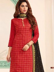 Black and Red Festival Banarasi Silk Churidar Designer Suit