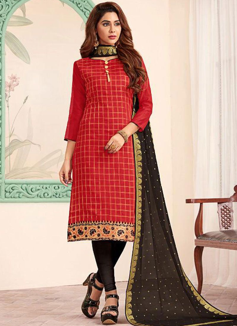 Black and Red Festival Banarasi Silk Churidar Designer Suit