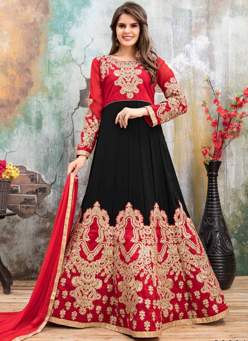 Black and Red Floor Length Anarkali Suit