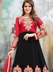 Black and Red Floor Length Anarkali Suit