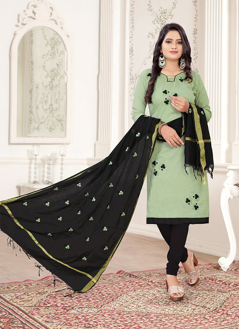 Black and Sea Green Embroidered Cotton Trendy Churidar Salwar Kameez