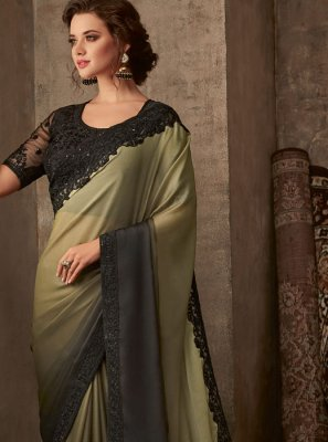Black and Sea Green Faux Chiffon Festival Silk Saree