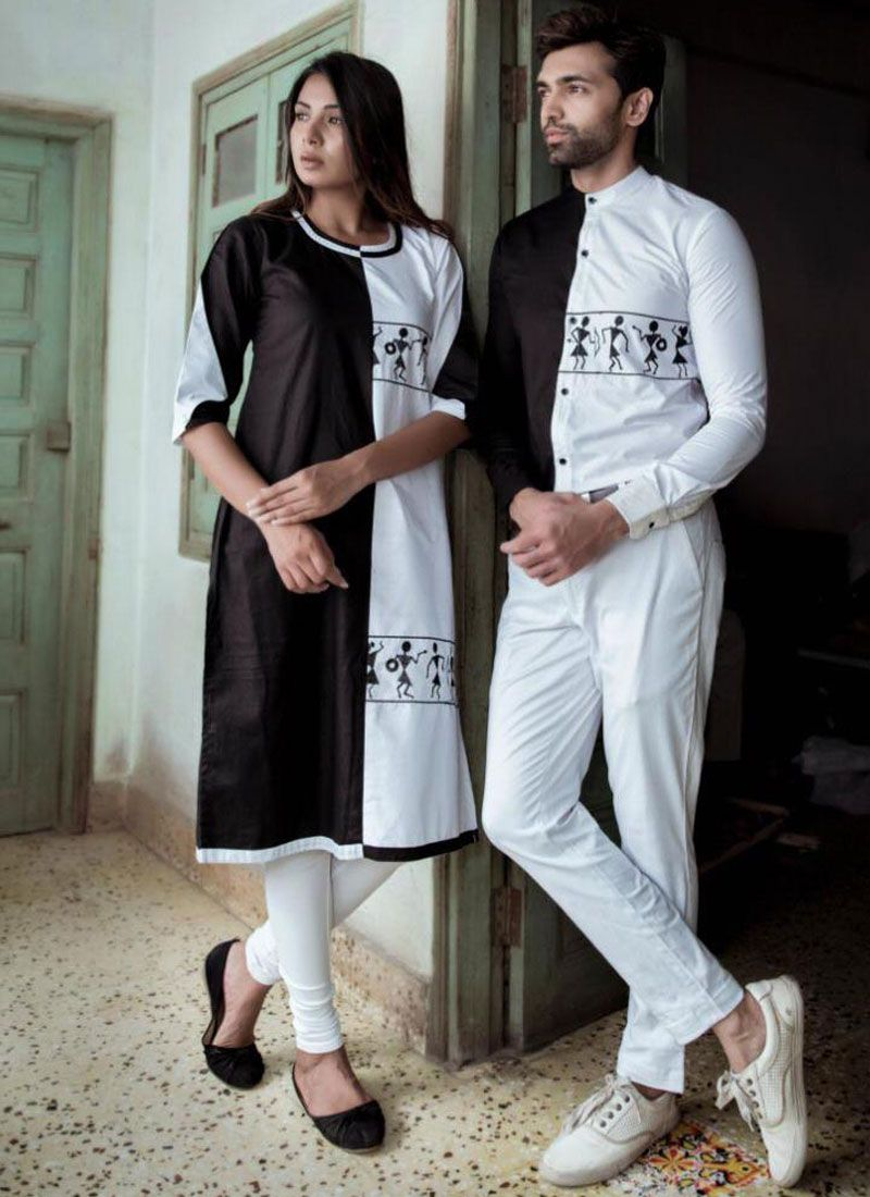 Black and White Cotton Satin Party Party Wear Kurti