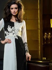 Black and White Embroidered Festival Party Wear Kurti