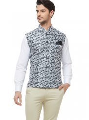 Black and White Printed Brocade Nehru Jackets
