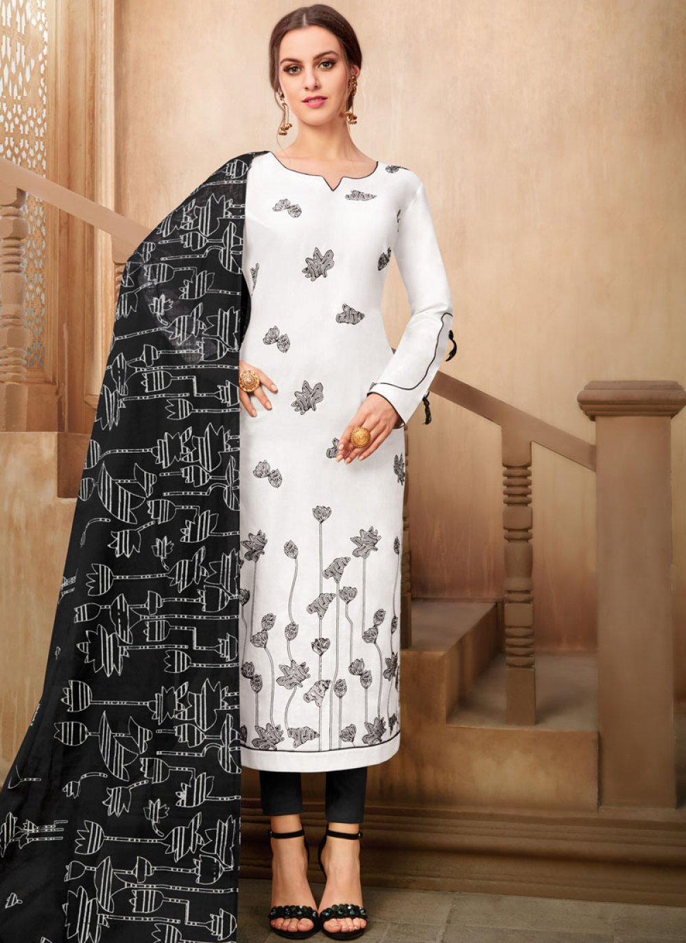 Black and White Printed Party Pant Style Suit