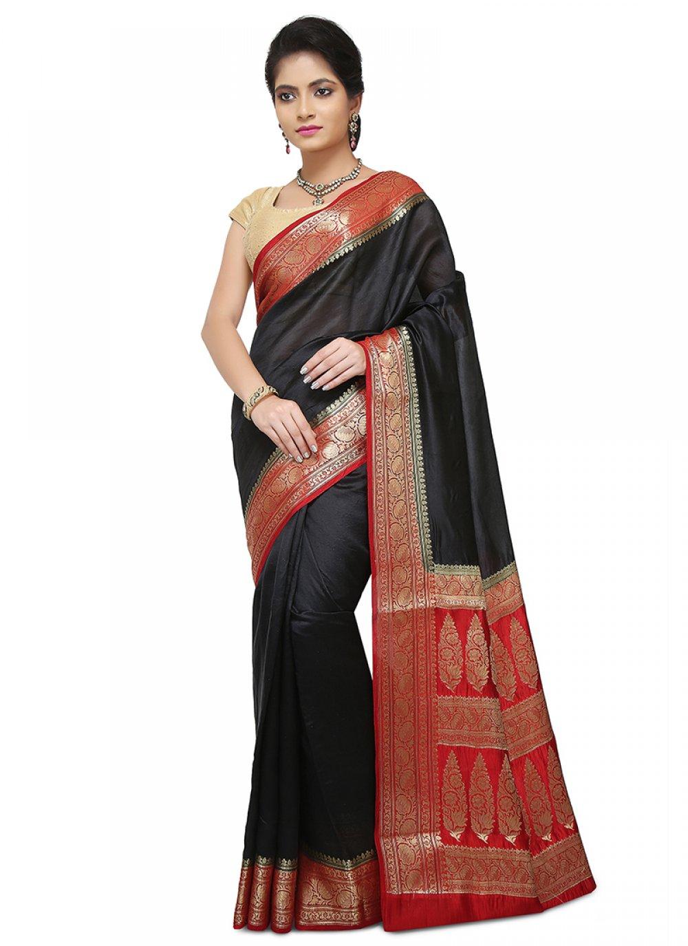 Black Art Banarasi Silk Designer Traditional Saree