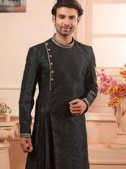 Black Art Banarasi Silk Reception Indo Western