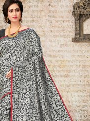 Black Art Silk Ceremonial Designer Traditional Saree