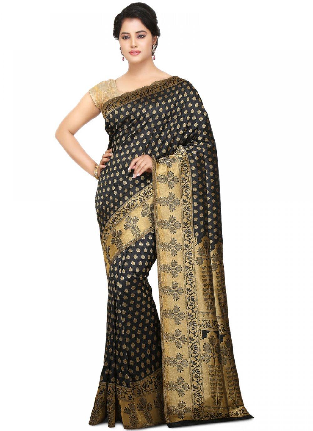 Black Art Silk Ceremonial Traditional Saree