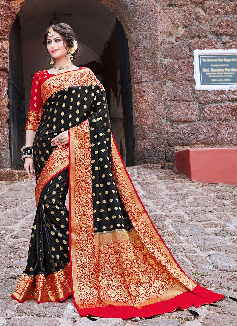 Black Art Silk Ceremonial Traditional Saree