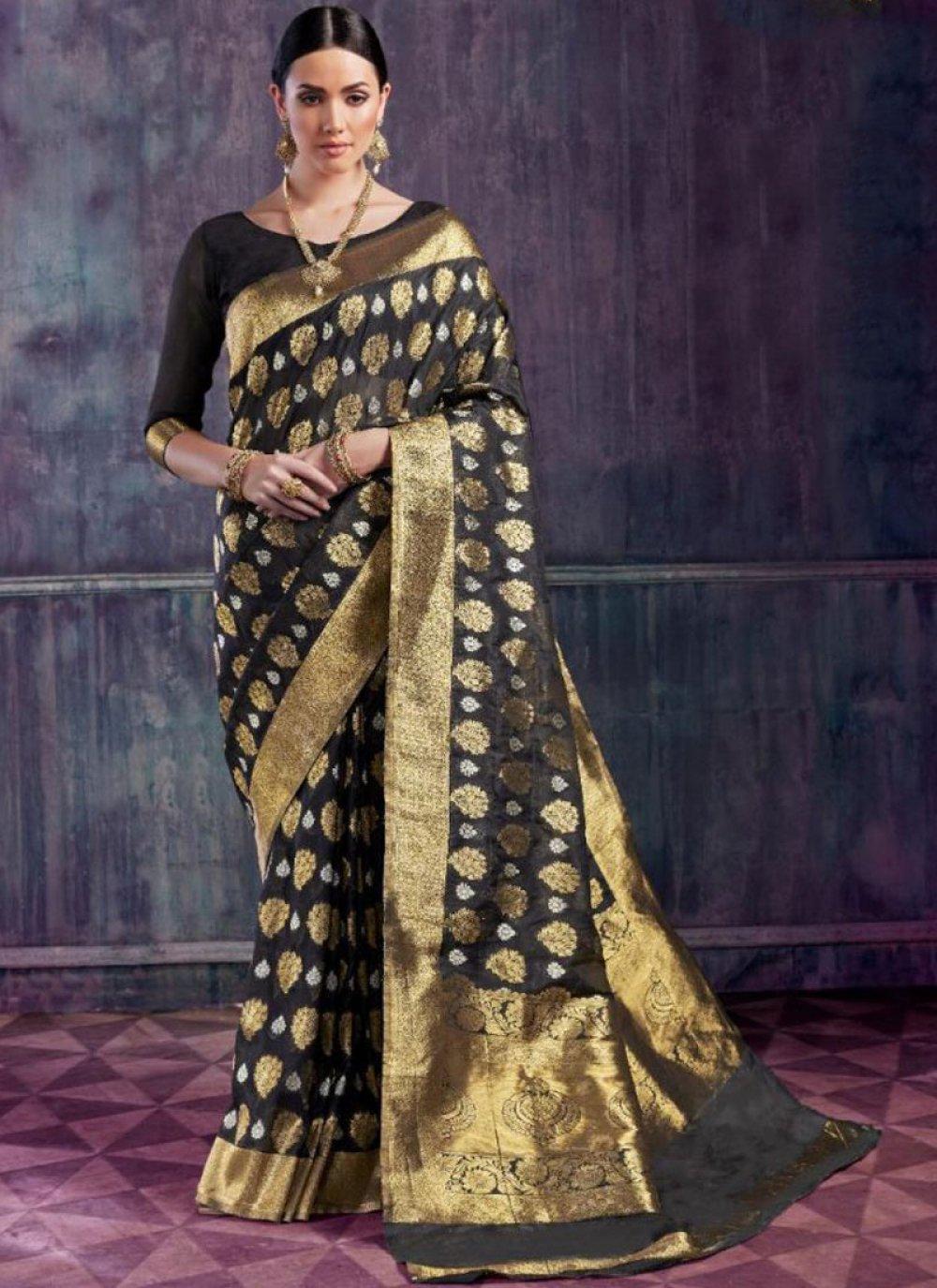 Black Art Silk Designer Traditional Saree