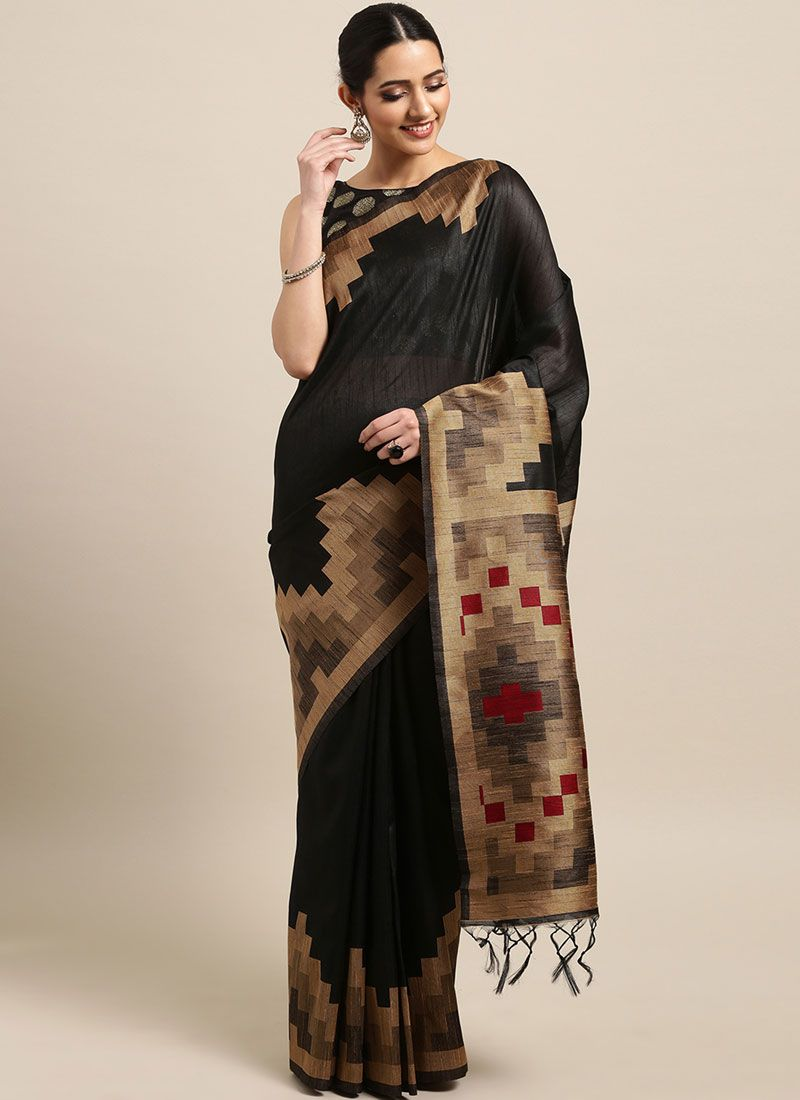 Black Art Silk Festival Designer Traditional Saree