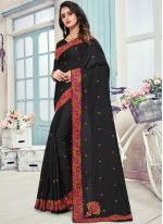 Black Art Silk Festival Designer Traditional Saree