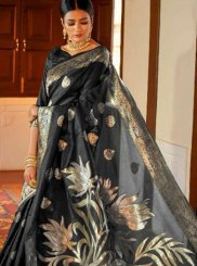 Black Art Silk Festival Traditional Designer Saree