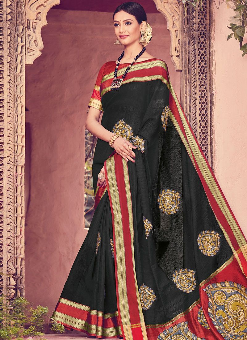 Black Art Silk Print Traditional Designer Saree