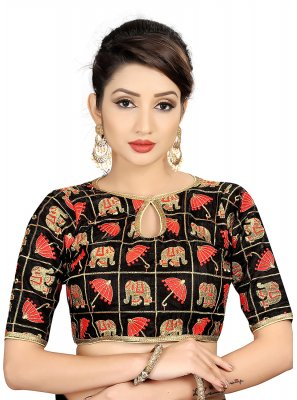 Black Brocade Embroidered Designer Blouse