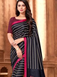 Black Ceremonial Art Silk Printed Saree