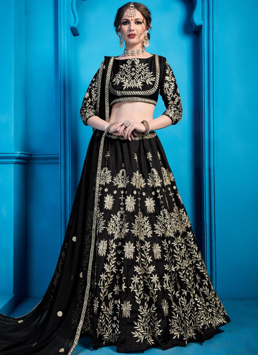 Black Ceremonial Designer Lehenga Choli
