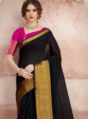 Black Chanderi Cotton Woven Classic Saree