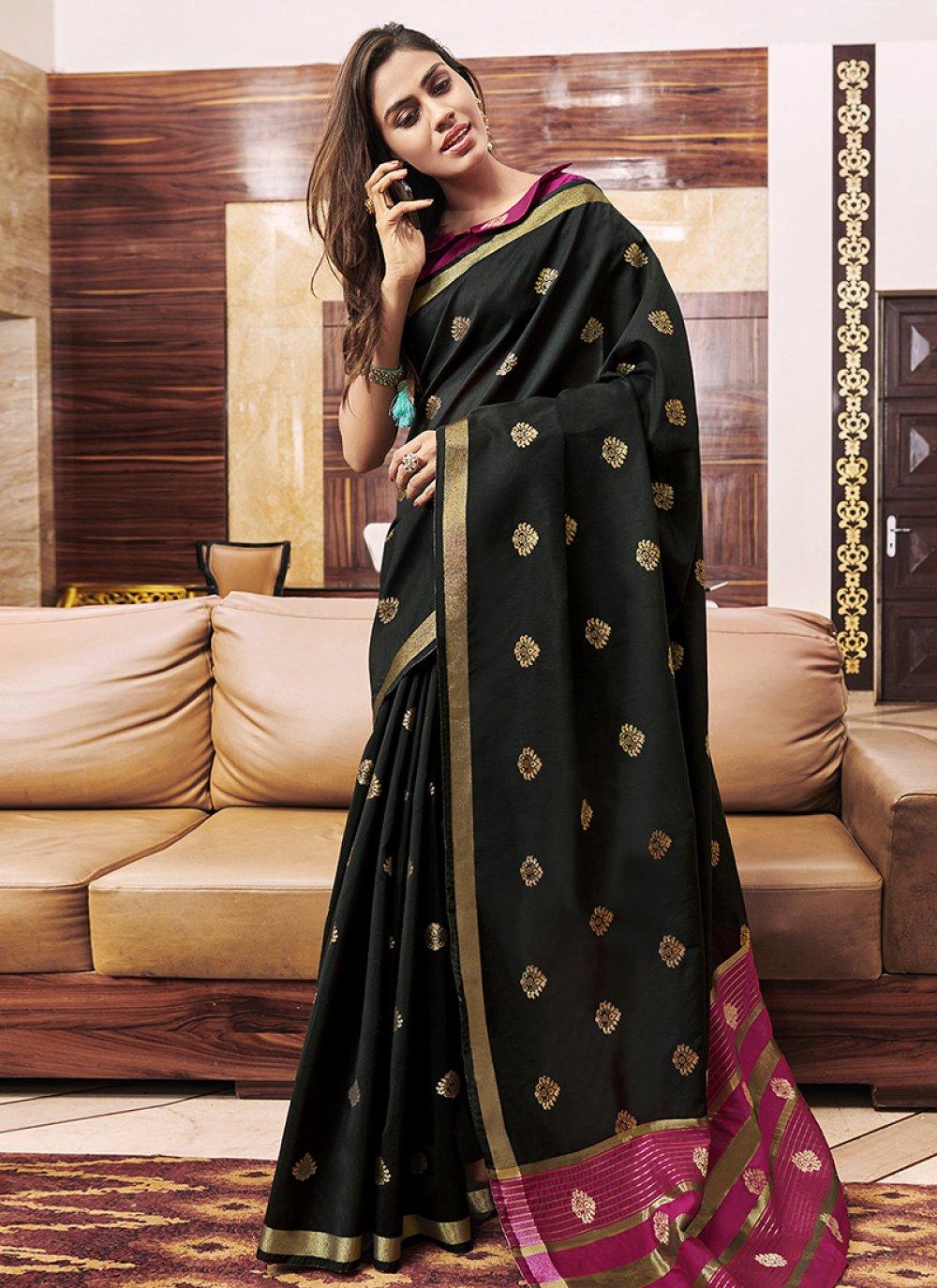 Black Chanderi Designer Saree