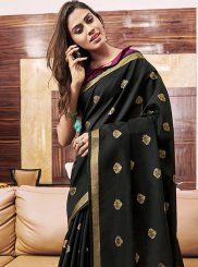 Black Chanderi Designer Saree