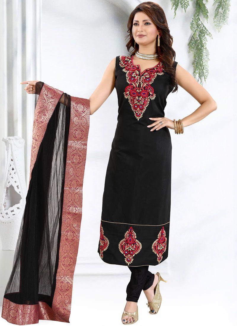 Black Churidar Designer Suit