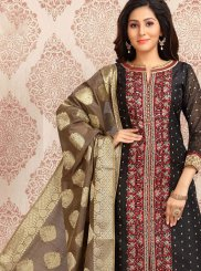 Black Color Churidar Designer Suit
