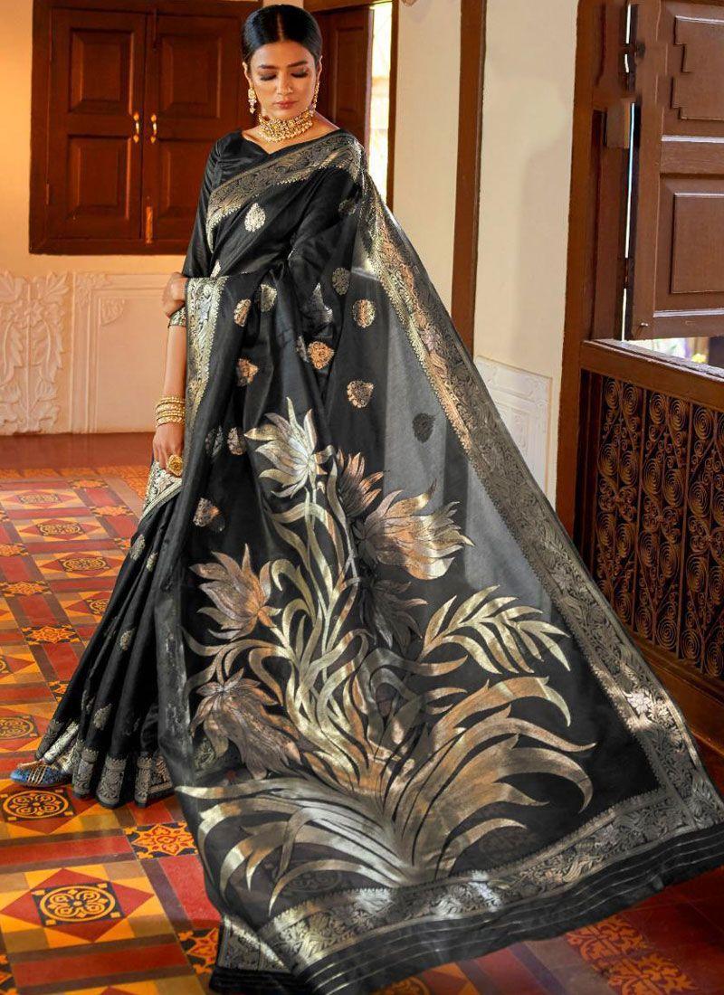 Black Color Classic Saree