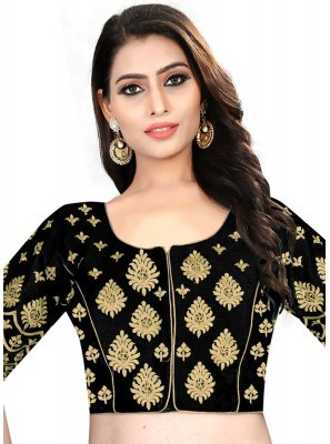 Black Color Designer Blouse With Embroidery Work