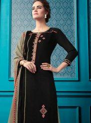 Black Cotton Ceremonial Designer Palazzo Salwar Kameez