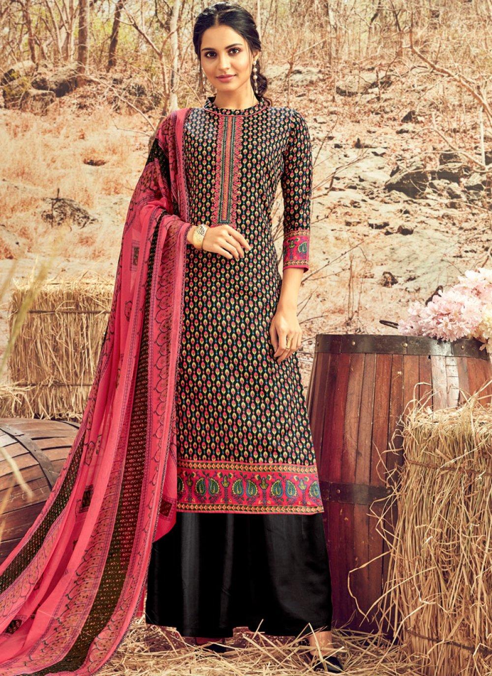 Black Cotton Ceremonial Designer Palazzo Suit
