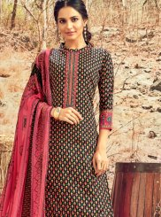 Black Cotton Ceremonial Designer Palazzo Suit