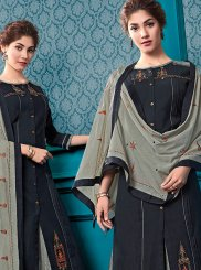 Black Cotton Designer Palazzo Salwar Kameez