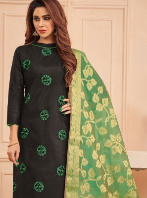 Black Cotton Designer Straight Salwar Suit