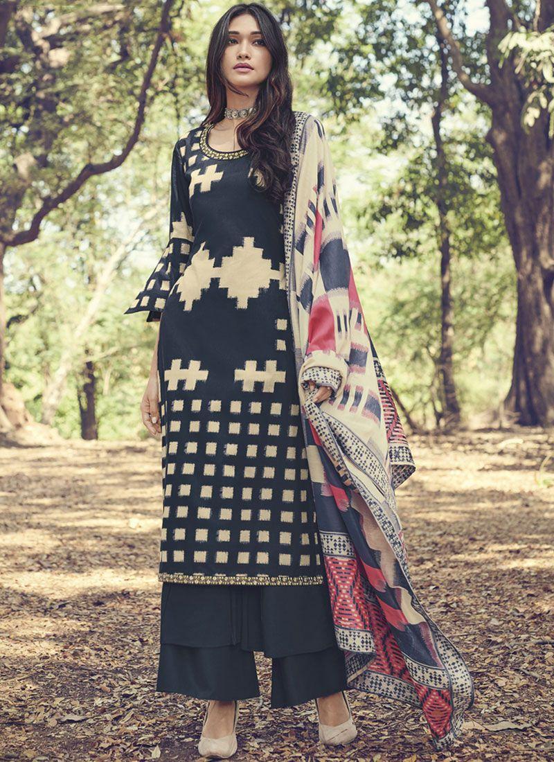 Black Cotton Festival Designer Suit