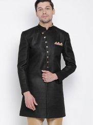 Black Cotton Kurta Payjama With Jacket