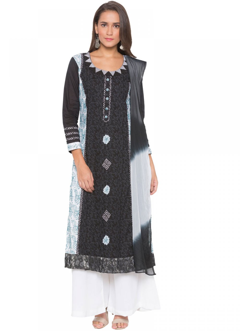 Black Cotton Readymade Suit