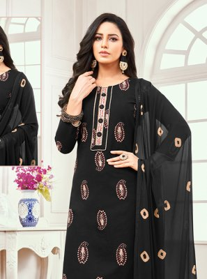 Black Cotton Satin Designer Salwar Kameez