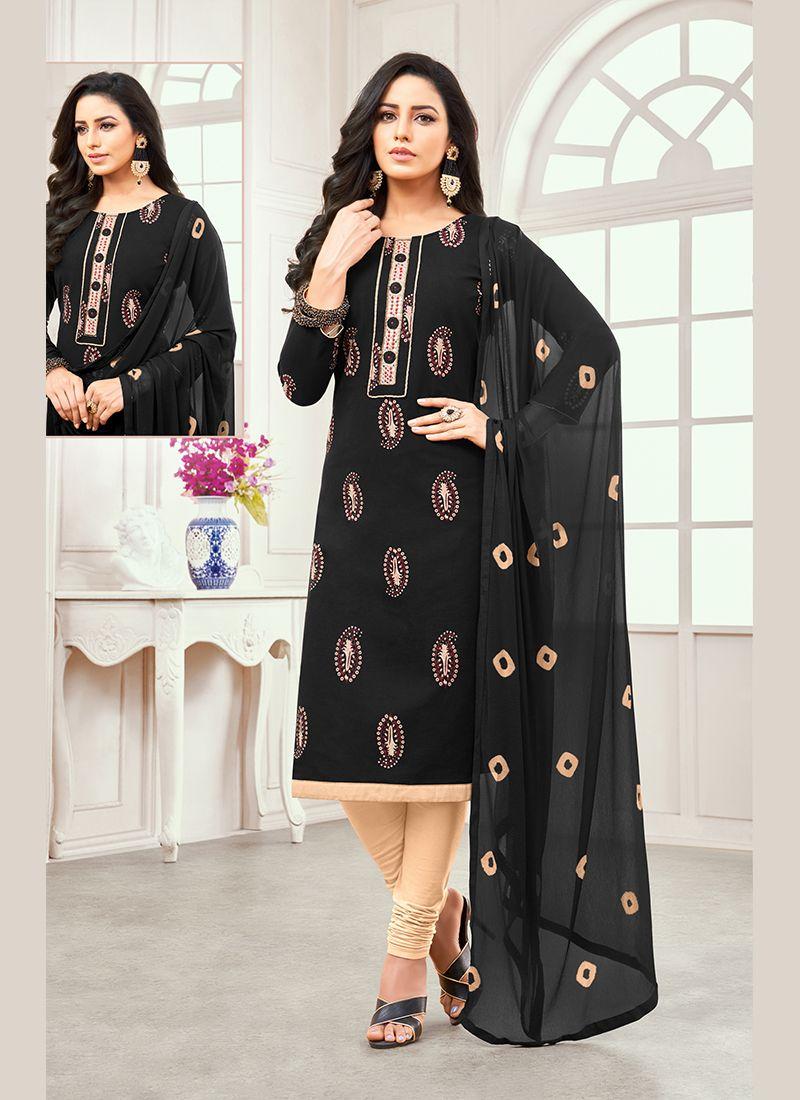 Black Cotton Satin Designer Salwar Kameez