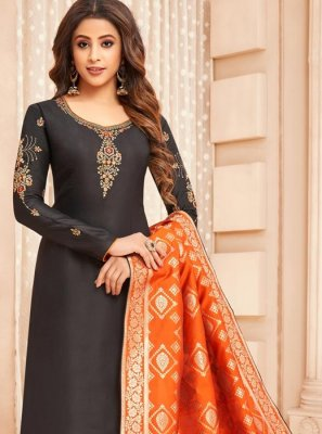 Black Cotton Silk Embroidered Designer Straight Suit