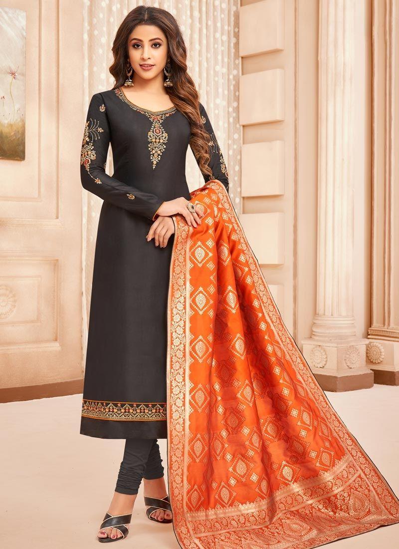 Black Cotton Silk Embroidered Designer Straight Suit