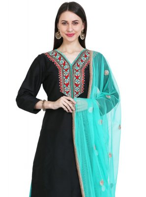 Black Cotton Silk Readymade Suit