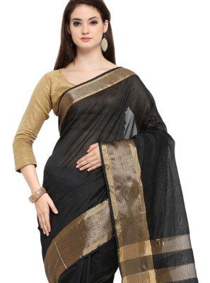 Black Cotton Silk Traditional Saree
