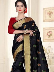 Black Cotton Silk Weaving Silk Saree